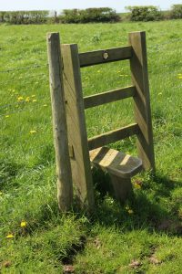broken stile on a country footpath
